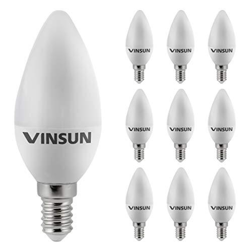 VINSUN LED E14 flamme 5W - remplace 40W - blanc chaud - 400lm, Ampoule LED E14 bougie - 10 piéces