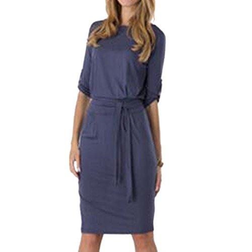 Honghu Frauen 3/4 Ärmel Arbeitskleidung Bodycon Kleid mit Gürtel Schlank OL Business Bleistift Kleider Dunkelblau S (Bleistift Gürtel)