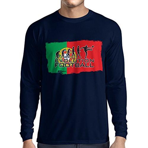 Langarm Herren t Shirts Die Portugal National Football Team - Entwicklung, 2018 World Cup Russland (Large Blau Mehrfarben) -