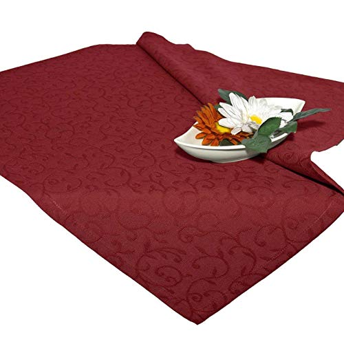 Nappe de table NEAPEL / 80x80 cm / motif arabesque / bordeaux-rouge