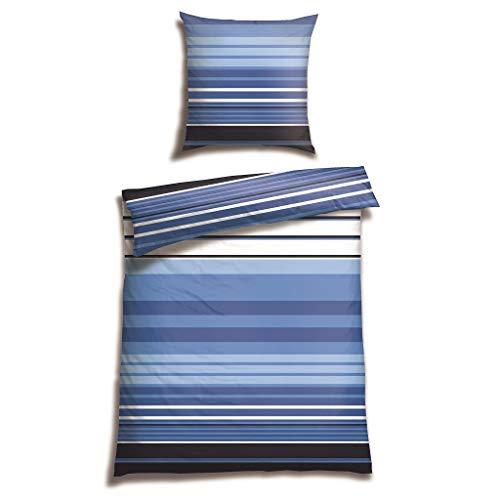 Schiesser Renforcé Bettwäsche Poos Royalblau / 100% Baumwolle/in Verschiedenen Größen erhältlich, Webart:Renforcé, Größe:155 cm x 220 cm, Farbe:royal blau