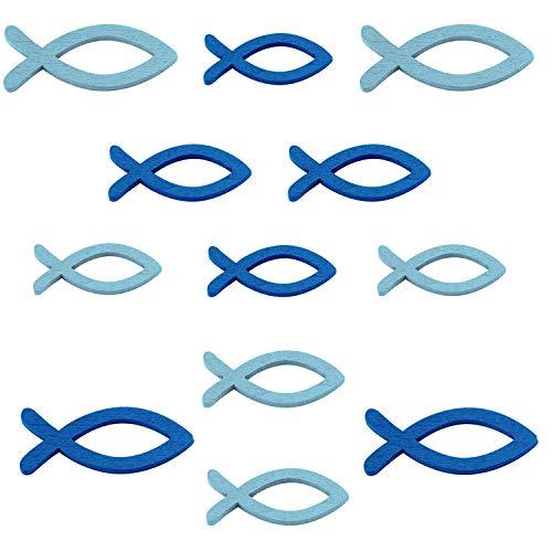LAKIND 108 Stück Deko Fische Holz Fisch Streudeko Fische Holzfische Deko Taufe Tischdeko Konfirmation Kommunion Dekoration Junge and Mädchen (Blau -108st)