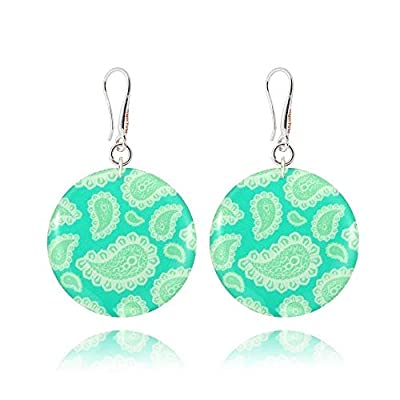 Sympathiques Boucles d'Oreilles Pendantes Forme Ronde de couleur Turquoise et Beige; Cadeau Amitié Anniversaire pour Femme; Diamètre 3cm