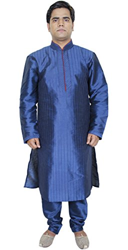 long-sleeves-kurta-pajama-blue-mens-fashion-clothes-art-silk-tunic-pant-m