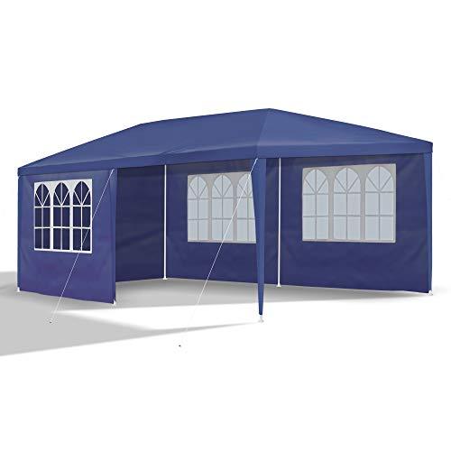 JOM 127146 Carpa de jardín, 3 x 6 m, con 6 Paredes Laterales, 4 con Ventana y 2 Cerradas, Conectores de plástico, con piquetas y Cables, Azul