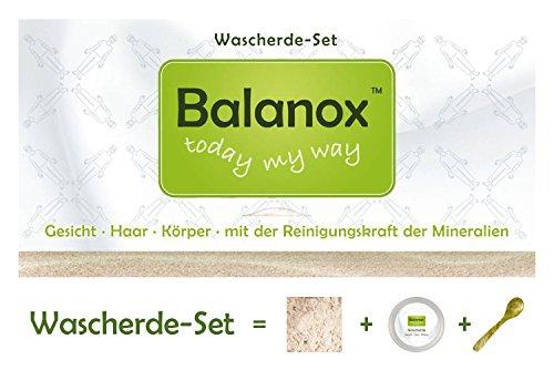 BALANOX Wascherde-Set Face&Body | Tiegel + Löffel + weiße Lavaerde (Tonerde) Pulver | saubere...