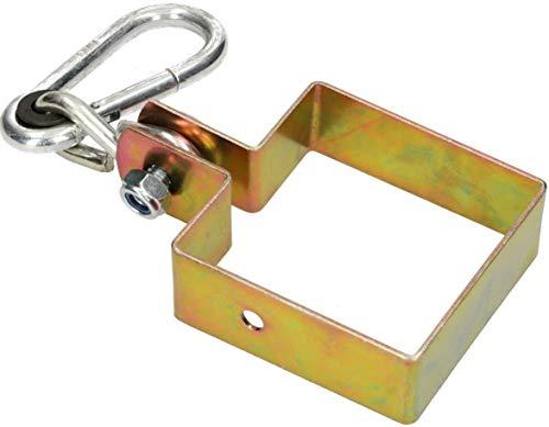 KOTARBAU Schaukelhaken 90 x 90 mm Vierkant Karabinerhaken Schaukelschelle Schaukelbefestigung Manschettenhaken Gold Verzinkt Hakenhalterung Schaukel