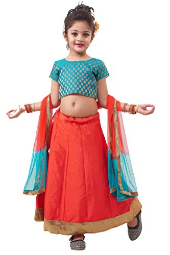 JBN Creation Girls' Kalidaar Lehanga, Blouse And A Dupatta Set