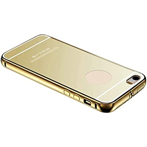 Ouneed® Iphone SE Custodia - Alluminio Ultra-Sottile Specchio Di Metallo Cover Case Silicone Per Apple Iphone SE/5/5S,Argento Nero/Oro /Oro/Rosa (Oro)