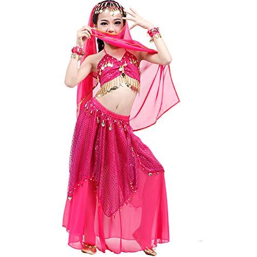 JIE. Kinder Bauchtanz Mädchen Kinder Indian Dance Kostüme Rock Anzüge,Rosered,S