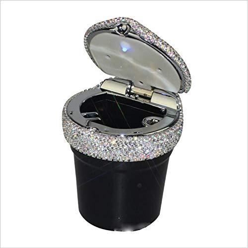 Ly-jfsz posacenere, led automatico posacenere da auto con coperchio adatto per le donne strass a mano accessori per la decorazione auto bianco nero