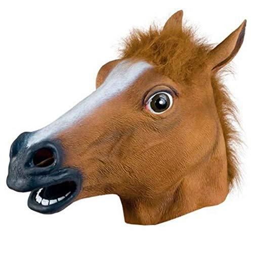 Kostüm Streich Tier - QWER Pferdemaske Halloween Pferdekopf Maske Latex Gruseliges Tier Kostüm Theater Streich Verrückte Party Halloween Dekor,Brown