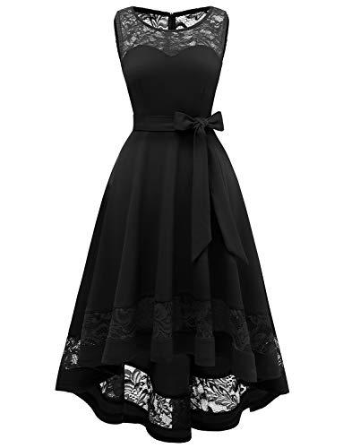 GardenWed Damen Kleid Cocktailkleid Elegant Unregelmässig Spitzenkleid Abendkleider für HochzeitBlack 2XL Black Lace Abendkleid