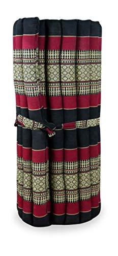 livasia Kapok Rollmatte in 190cm x 75cm x 4,5cm der Marke Asia Wohnstudio; Liegematte BZW. Yogamatte, Thaikissen, Thaimatte als asiatische Rollmatratze (schwarz/rot)