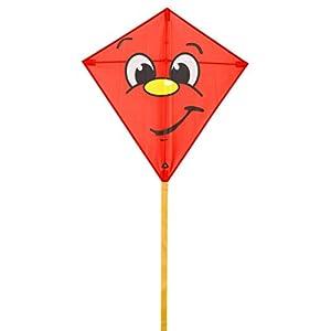 Invento 100120-Eddy Joker Niños Dragón einleiner, a partir de 5años, 68x 68cm y 2m Dragón Cola Ripstop de poliéster 2-5Beaufort, Rojo