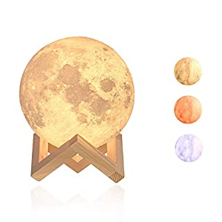 Moon Night Light, Dreamiracle LED 3D Print Moon Lamp 5.1inch Remote Control for Children Adults, Stepless Dimmable Brightness