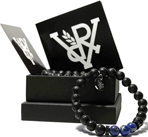 VOYAL Weltkugel Lavastein Armband Set, Herren-Armband und Damen-Armband aus echten Lavasteinen und blauen Howlith Perlen, Schmuck (blau) für Männer und Frauen mit Anhänger aus Edelstahl (Welt)