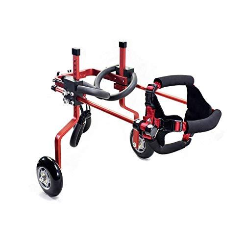 Einstellbare Haustier Rollstuhl Hinterbein Sportwagen Für Schwache Hund Katze Haustier Hinterbein Rehabilitation Dog Push Wheel (Color : Red, Size : Large)