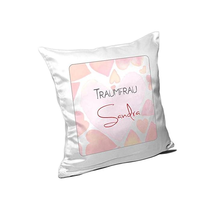 Kissen mit Namen Sandra und schönem Motiv für die Traumfrau zum Valentinstag - Namenskissen - Kuschelkissen…