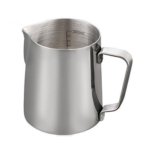 Milchkännchen, BeGreat Milk Pitcher 350ml Milchkanne aus Edelstahl, perfekt für Milch Aufschäumen für Cappuccino und Craft Kaffee Latte (Silber)