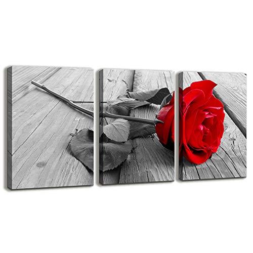 3Kunstwerk Blau Blume Canvas Prints Blue Art Wand Art Decor Malerei Moderne Bilder gerahmt fertig Zum Aufhängen 12x16inches*3pcs Red Rose Flower
