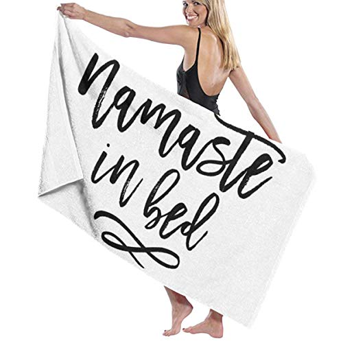 THCDTOP19 Namaste In Bed Funny Typography Quote Beach Towels Bath Towels For Teen Girls Adults Travel Towel Pool and Gym Use 31x51 Inches
