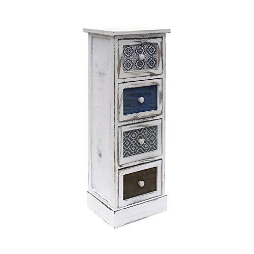 Rebecca Mobili Cassettiera Comodino Bianco Grigio Blu Shabby Legno 4  Cassetti Soggiorno Salvaspazio Arredo Casa - 80 x 29 x 25 cm (H x L x P) -  Art. ...