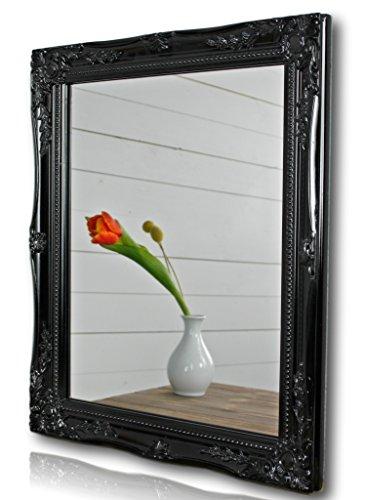 elbmöbel Wandspiegel rechteckig in schwarz antik mit Patina 37 x 47cm | Spiegel barock aus Holz | im Landhausstil als Badspiegel | Schminkspiegel bzw. Frisierspiegel für das Landhaus