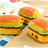 RIANZ Cute Newest Imported Hamburger Double Blade Pencil Sharpener/Eraser School Stationary For Kids/B'Day Return Gifts, Set Of 1