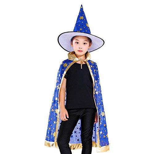 Halloween Kostüm Blau Halloween Kinder Kostüm Mit Hexenhut Sterne Halloween Umhang Zauberer-Kostüm Cosplay Fasching Halloween Kinder Umhang Mit Sternen Jünge Mädchen Einheitsgröße