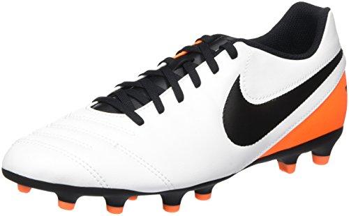 Nike Tiempo Rio Iii Fg, Chaussures de Running Entrainement Homme, 40.5 EU Blanc (White/Black Total Orange)
