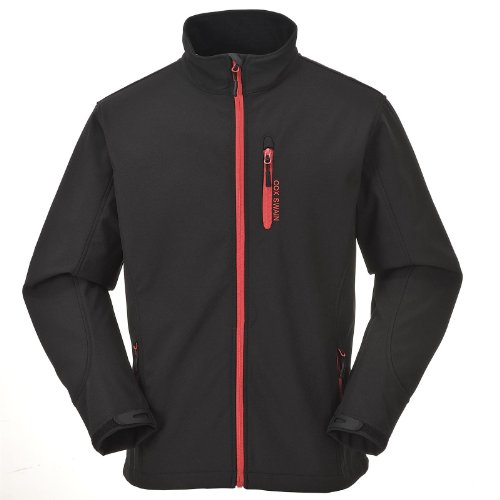 Cox Swain Herren 3-Lagen Outdoor Softshell Jacke Alto - 8.000mm Wassersäule - 2.000mm atmungsaktiv, Colour: Black/Red Zipper, Size: XL