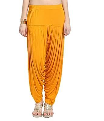 Smartees Dark Yellow Color Viscose Patiala Pants for Women ( Bottom Wear )