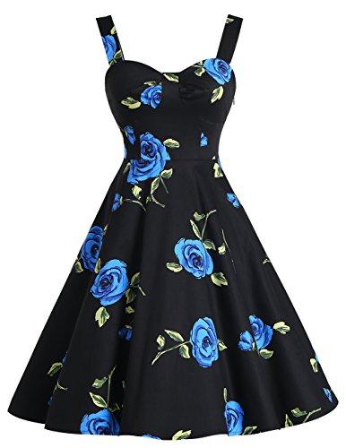 Dresstells Schultergurt 1950er Retro Schwingen Pinup Rockabilly Kleid Faltenrock BlueFlower XL Kleidung Von 1950