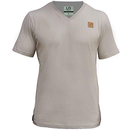 urban air | StyleFit | T-Shirt | Herren | für Sport und Freizeit | 100% Baumwolle, Leder-Patch, V-Ausschnitt, ohne Aufdruck, Kurzarm | hell grau | L | leicht tailliert