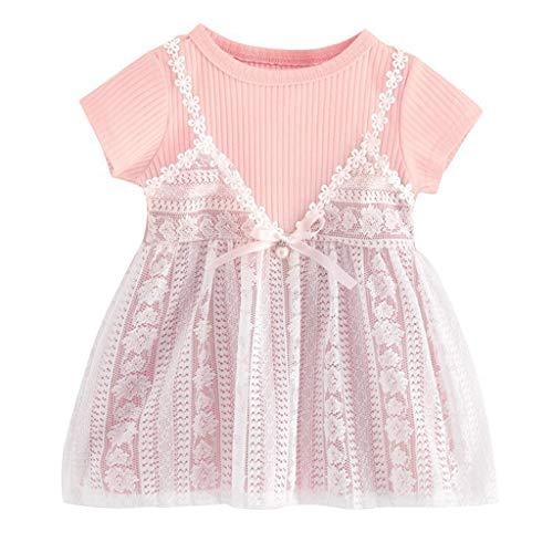 Yanhoo (0M-24M) Baby KurzäRmelige Spitze Blume GefäLschte Zweiteilige Kleid, Foto-Outfits Baby KostüM TüTü Rock Pettiskirt MäDchen Blumen Stirnband