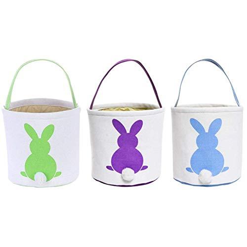 Mondeer Ostereiersuche Korb Taschen Bunny Dual Layer Printed Canvas Tote Tragen Geschenk Eier Süßigkeiten und Spielzeug für Kinder (grün&lila&blau)