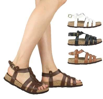 Kennedy gladiator style real leather sandals Black Ladies-UK8|EU41