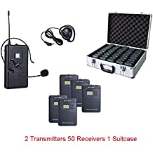 ZLWUS 800R Tour Guide System , UHF794~806MHz Digital AudioGuias y AudioGu¨ªas(2pc Transmisors + 50pc Auricular + Suitcase) Para Ense?anza Visiting and Conference(Gris)