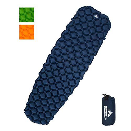 OutdoorsmanLab, Isomatte, extrem leicht, extrem kompakt–für Rucksackreisen, Camping, Urlaub mit superweichem komfortablem Luftkammerdesign, blau -