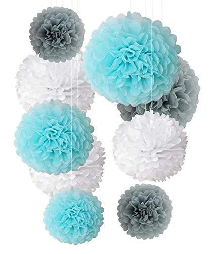 Seidenpapier Pom Poms hell blau grau weiße Dekorationen - 9 Stück 14