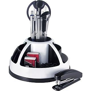 Pavo 8000173 Desk Organizor Schreibtisch-Set/Stiftehalter mit Rotation, inklusiv 9-teiligem Zubehör, weiß/schwarz