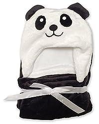 Babydecke + Kapuzenhandtuch Baby von Lexikind | kuscheliger Poncho Bademantel aus Mikrofaser | Babyhandtuch mit Kapuze | lustiges Kapuzenbadetuch (Panda Bär)