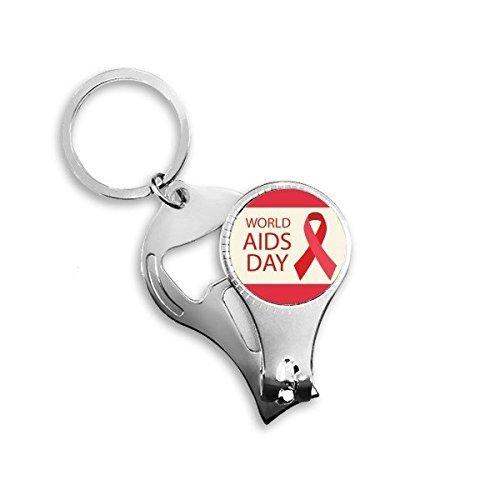 CFHJN HOME Welt-Aids-Tag 1. Dezember Red Ribbon Awareness HIV Solidarität Symbol Metall Schlüsselanhänger Ring Multifunktions Nagelknipser Flaschenöffner Auto Keychain Bester Charme Geschenk