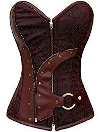 Saphira lingerie. Corset maron de style Steampunk pouvant se porter pour une soiree intime ou sur un jean