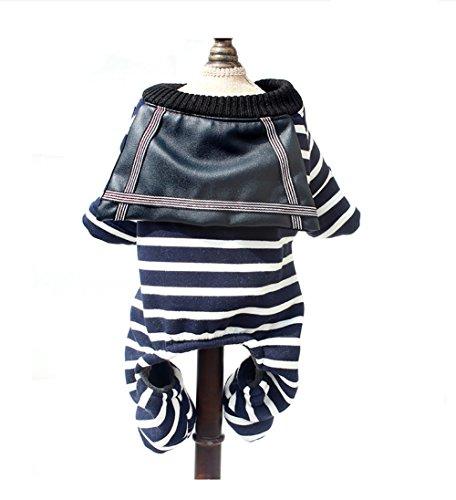 Kasten Kostüm Hunde Tragen - Haustier-Kleidung Netter Streifen Vierbeiniger Hund Warmer Herbst-Winter-Kappen-Strickjacke-Kostüm-Kasten-Schutz-Mode-beiläufiger Kleid-Mantel 5 Größe (Color : Stripe, Size : S)