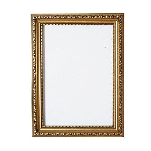 Bilderahmen, Fertig zum Aufhängen oder Aufstellen, Kunstvoller Shabby-Chic-Stil, Bild/Foto/Poster-Rahmen mit MDF-Rückwand und hoher Klarheit, Styrol, Bruchsicheres Plexiglas , gold, A4