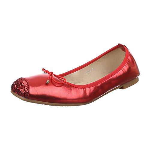 Damen Schuhe, 53498, Ballerinas, Schleifen DEKO Glitter, Synthetik in Hochwertiger Lederoptik, Rot, Gr - Kostüm Rot Glitter Schuhe