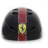 Ferrari Casco para Bicicleta o para Patinaje, Ajustable, Color Negro, Talla única