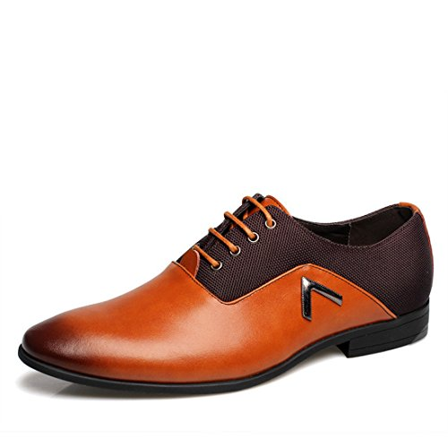 Men's Genuine Leather Lace Up Formal Shoes Orange